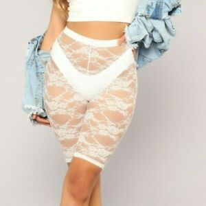 Sheer Full Lace High Rise Pull On Biker Shorts White Extra Extra Small XS S XXS