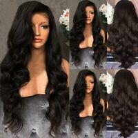 "28"" Ladies Silk Black Long Curly Wigs Women Natural Body Wavy Hair Cosplay Wig"