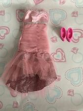STUNNING! Pink Metallic Lacy Dress W Shoes Clothes BARBIE for OOAK ~~Beautiful~~