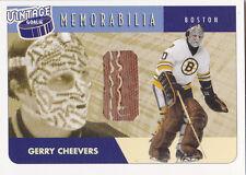 01-02 BAP Gerry Cheevers /40 Pads Vintage Goalie Memorabilia Bruins 2001