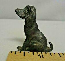 Miniature Pewter Basset Hound Dog Figurine Marked Shadow 1990