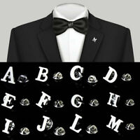 Letter A-Z Men Suit Silver Brooch Collar Lapel Pin Fashion Jewelry Decor Gift CA