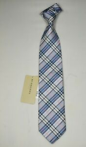 """NEW Burberry BLUE PLAIDS Mans 100% Silk Tie Authentic Italy Made 3.5"""" 0350204"""