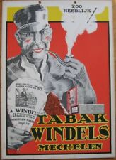 Tobacco Advertising Sign - Man Smoking Pipe - 1940s Artist-Signed