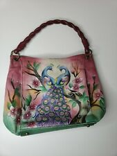 Beautiful Anuschka Leather Hand Painted Peacock Shoulder Bag purse purple large