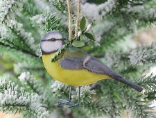 GISELA GRAHAM CHRISTMAS WOOD BLUE TIT BIRD DECORATION
