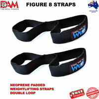 DAM FIGURE 8 STRAPS WEIGHT LIFTING STRENGTH GYM BAR WRAPS NEOPRENE PADDED NEW