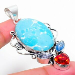 "Larimar, Garnet Gemstone Handmade 925 Sterling Silver Jewelry Pendant 2.76"""
