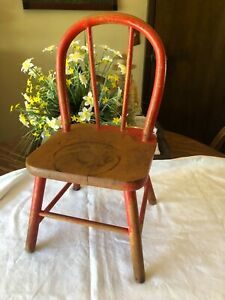 """Red Antique/Vintage Doll or Child Chair sturdy nice patina 18 1/2"""" tall   #3"""