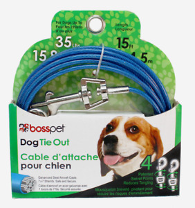 PDQ Boss Pet 15' DOG TIE OUT Blue/Silver Vinyl Coated Cable MEDIUM Dog 35lbs NEW