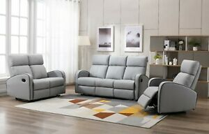 LEATHER RECLINER 3 2 1 SEATER SOFA LIGHT GREY TAUPE COUCHES SET SUITE