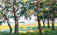 painting Raksha art impressionism vintage Summer landscape old original picture
