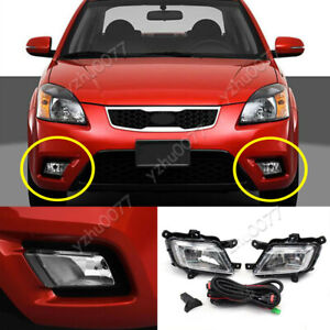 2010-2011 For KIA Rio Sedan Halogen Front Fog Lights w/ Bulbs Switch wiring Kit
