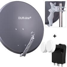 SAT Antenne DUR-line Select 75/80 + Monoblock Quad LNB - 4 Teiln. Set Anthrazit
