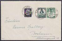 DR K 25, 512 MiF auf Brief, gel. Essen - Bochum 1936, Nothilfe Kehrdruck