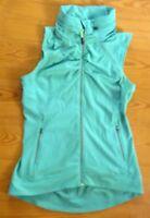 Tangerine Small Green Full Zip Vest Hidden Hood Athletic Jacket Coat Sleeveless