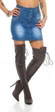 10954 Jeansskirt Jeansrock Minirock High-Waist Rock Jeans Blau
