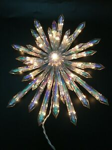 Iridescent Glowing Lighted Snowflake Christmas Holiday Tree Topper UL 37 Lights