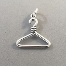 .925 Sterling Silver COAT/CLOTHES HANGER CHARM NEW Pendant Clothing 925 DU24