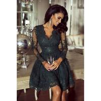 Damen Abendkleid Ball Cocktail Party A-Linie Mini Spitze Kleid Samt XS,S,M,L