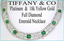 RARE TIFFANY & CO TSARINA PLAT EMERALD DIAMOND NECKLACE 46tcw APPRAISAL $425,000