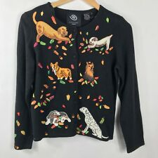 MICHAEL SIMON Fall DOGS Puppies Leaves Cardigan Black Embroidered Sweater Size S