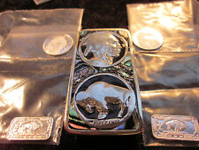 Money Clip, Beautiful Real Indian Head. Silver Inlaid and Abalone+.2 .999 Bars