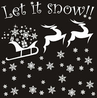 2 REUSABLE WHITE REINDEER & 44 SNOWFLAKE WINDOW STICKERS DECORATIONS CLING DECAL