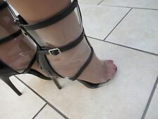 PVC & PATENT TRANSPARENT ANKLE BOOTS PEEP TOE STILETTO HIGH HEEL SIZE 6 RIRI