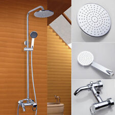 "Bathroom Chrome 8"" Round Shower Faucet Set Wall Mounted Mixer Tap W/Tub Spout"