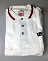 Wilson Polo Shirt Men's Top, White (100% Cotton) - Size XXL - Vintage