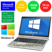 "HP LAPTOP WINDOWS 10 PC CORE i5 2.5GHz 16GB RAM 180GB SSD 15.6"" DVDRW NOTEBOOK"