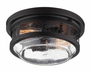 GLOBE ELECTRIC 2-Light Wolfe Bronze Outdoor Flush Mount 44263