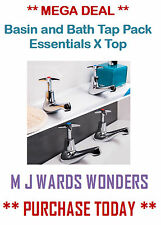 Basin and Bath Tap Pack - Solid Brass with a Chrome Finish - Essentials X Top