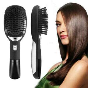 Electric Ionic Brush Massage Hair Straightener Curler M1X4 Comb C7C8