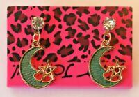 Betsey Johnson Crystal Rhinestone Enamel Moon and Stars Post Earrings