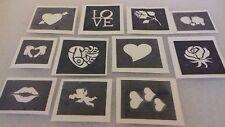 30 x Valentine mini small stencils for glitter tattoos / airbrush love heart