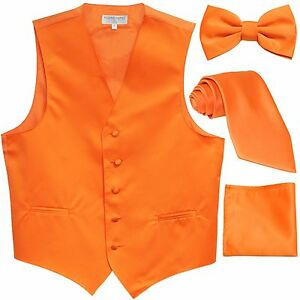 New Men's tuxedo Vest Waistcoat With Necktie, Bowtie & Hankie Set Orange
