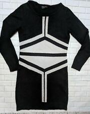 BCBG Maxazria sweater dress Medium 25% wool black and gray geometric long sleeve