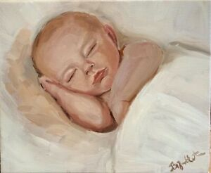 Original oil painting art on canvas portrait of a baby. Commissions available