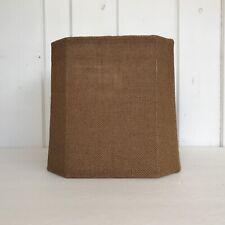 "10"" Natural Brown Burlap Square Cutcorner Lampshade Fabric Liner Spider Fitter"