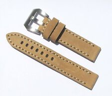 20mm Beige Wood Color Extra Thick Heavy Duty Leather Watch Band