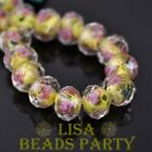 10pcs12mm Rondelle Flower Faceted lampwork Glass Loose Spacer Beads Lemon Yellow