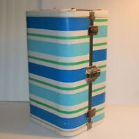 "Vintage Doll Case Blue Stripes 15"" Tall Baby Doll Trunk Carrying Case Handle"