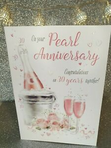 Happy Pearl 30 years Anniversary Card Congratulations  FREE 1st Class Post