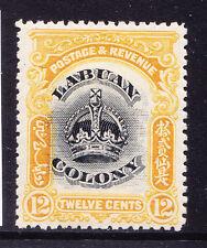 Borneo del Norte Labuan 1902 SG123 12c Negro y Amarillo-Perf 131/2-14 M/m. Cat £ 15