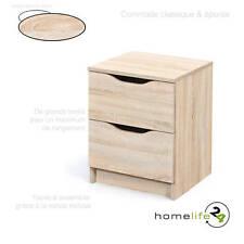 Commode 2 tiroirs Sonoma chêne simple épuré fonctionnel moderne glissières mé...