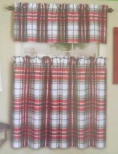 Christmas Curtains and Valance Merona Tartan Plaid Printed 3 pc Set NEW