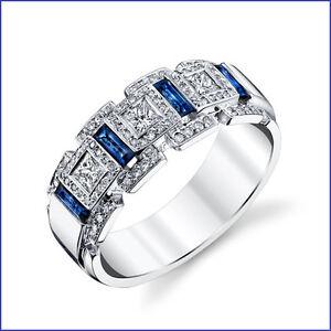 Beautiful 1.50ct Men's Diamond & Sapphire PLATINUM Designer Band