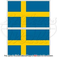 "SWEDEN Swedish Flag 75mm (3"") Bumper Stickers x2"